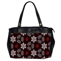 Floral Pattern On A Brown Background Oversize Office Handbag (2 Sides) by LalyLauraFLM