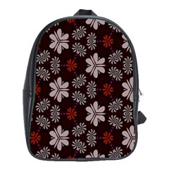 Floral Pattern On A Brown Background School Bag (xl) by LalyLauraFLM