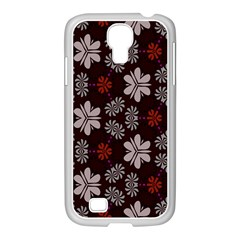 Floral Pattern On A Brown Background Samsung Galaxy S4 I9500/ I9505 Case (white) by LalyLauraFLM