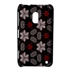Floral Pattern On A Brown Background Nokia Lumia 620 Hardshell Case by LalyLauraFLM