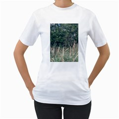 Grass And Trees Nature Pattern Women s Two Sided T Shirt (white)