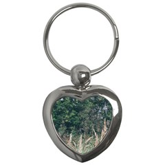 Grass And Trees Nature Pattern Key Chain (heart) by ansteybeta