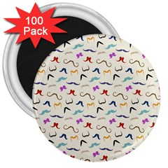 Mustaches 3  Button Magnet (100 Pack) by boho