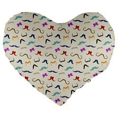 Mustaches Large 19  Premium Heart Shape Cushion by boho