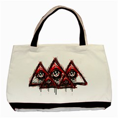 Red White Pyramids Twin Sided Black Tote Bag by teeship