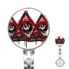 Red White pyramids Stainless Steel Nurses Watch by teeship