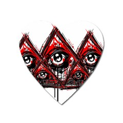 Red White Pyramids Magnet (heart) by teeship