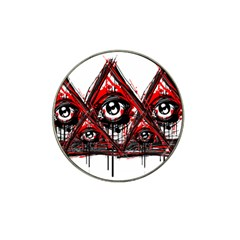 Red White Pyramids Golf Ball Marker 10 Pack (for Hat Clip) by teeship