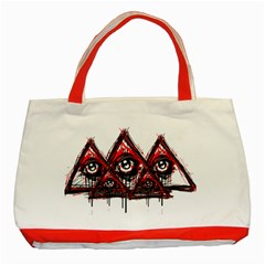 Red White Pyramids Classic Tote Bag (red) by teeship