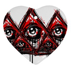 Red White Pyramids Heart Ornament (two Sides) by teeship