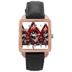 Red White Pyramids Rose Gold Leather Watch  by teeship