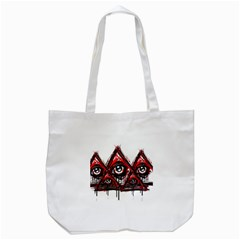 Red White Pyramids Tote Bag (white) by teeship