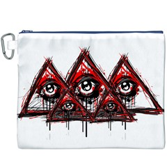 Red White pyramids Canvas Cosmetic Bag (XXXL) by teeship