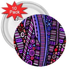 Stained Glass Tribal Pattern 3  Button (10 Pack) by KirstenStar