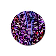 Stained Glass Tribal Pattern Drink Coaster (round) by KirstenStar