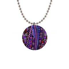 Stained Glass Tribal Pattern Button Necklace