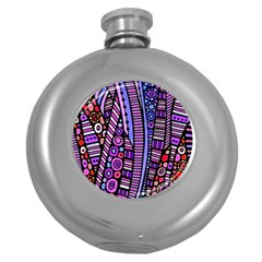Stained Glass Tribal Pattern Hip Flask (round) by KirstenStar