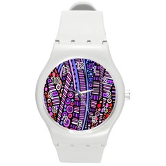 Stained Glass Tribal Pattern Plastic Sport Watch (medium) by KirstenStar