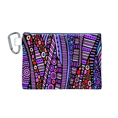 Stained Glass Tribal Pattern Canvas Cosmetic Bag (medium) by KirstenStar