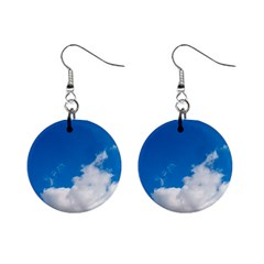 Bright Blue Sky 2 Mini Button Earrings by ansteybeta