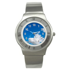 Bright Blue Sky 2 Stainless Steel Watch (slim) by ansteybeta