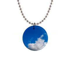 Bright Blue Sky 2 Button Necklace