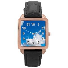 Bright Blue Sky 2 Rose Gold Leather Watch  by ansteybeta