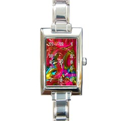Music Festival Rectangular Italian Charm Watch by icarusismartdesigns