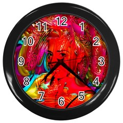 Mardi Gras Wall Clock (black) by icarusismartdesigns