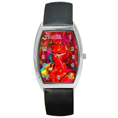 Mardi Gras Tonneau Leather Watch by icarusismartdesigns