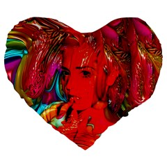 Mardi Gras Large 19  Premium Flano Heart Shape Cushion by icarusismartdesigns
