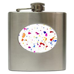 Multicolor Splatter Abstract Print Hip Flask by dflcprints