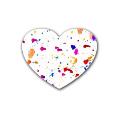 Multicolor Splatter Abstract Print Drink Coasters 4 Pack (heart)  by dflcprints