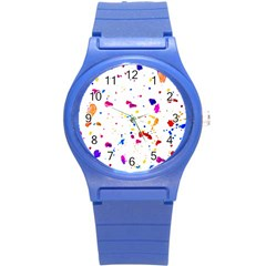 Multicolor Splatter Abstract Print Plastic Sport Watch (small) by dflcprints