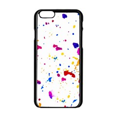 Multicolor Splatter Abstract Print Apple Iphone 6 Black Enamel Case by dflcprints