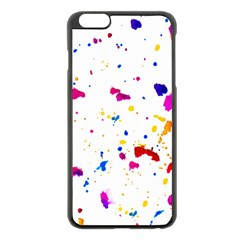 Multicolor Splatter Abstract Print Apple Iphone 6 Plus Black Enamel Case by dflcprints