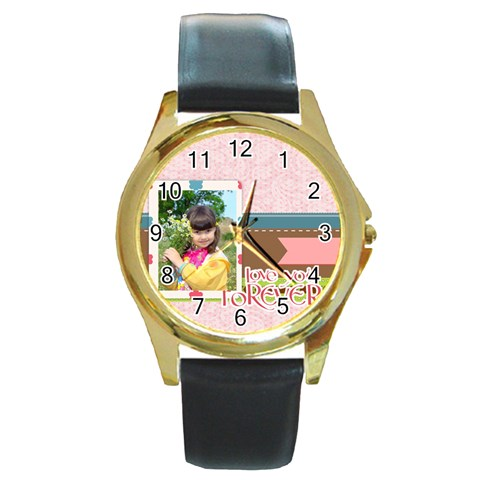 Kids By Kids   Round Gold Metal Watch   Fhtee96yz7ao   Www Artscow Com Front