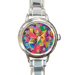 Colorful Floral Abstract Painting Round Italian Charm Watch