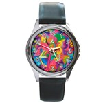 Colorful Floral Abstract Painting Round Leather Watch (Silver Rim)