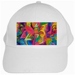 Colorful Floral Abstract Painting White Baseball Cap