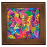 Colorful Floral Abstract Painting Framed Ceramic Tile
