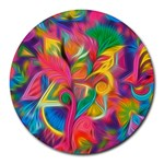 Colorful Floral Abstract Painting 8  Mouse Pad (Round)