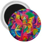 Colorful Floral Abstract Painting 3  Button Magnet