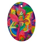 Colorful Floral Abstract Painting Oval Ornament