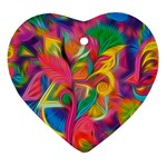 Colorful Floral Abstract Painting Heart Ornament