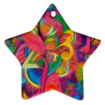 Colorful Floral Abstract Painting Star Ornament