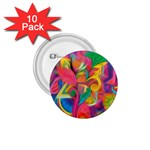 Colorful Floral Abstract Painting 1.75  Button (10 pack)