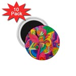 Colorful Floral Abstract Painting 1.75  Button Magnet (10 pack)