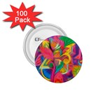 Colorful Floral Abstract Painting 1.75  Button (100 pack)