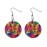 Colorful Floral Abstract Painting Mini Button Earrings